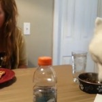 Dog eating at Table