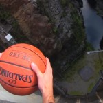 Spinning Basketball thrown off Dam