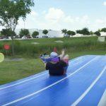 Nerf slip and slide battle