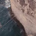 Slacklining 40m above the sea