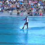 Wakeboarding in a swimming pool